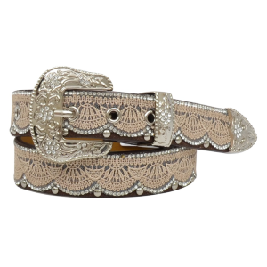 "Girls'  1-1/4"" Lace & Bead Accented Belt"