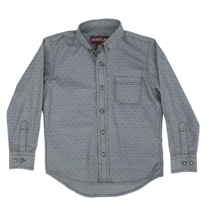 Boys'  Gray Dot Long Sleeve Button Down Shirt