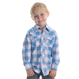 Boys'  Tough Enough To Wear Pink Pink/Blue Plaid Long Sleeve Snap Shirt