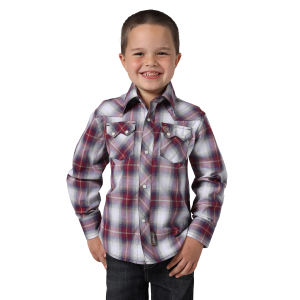 Boys'  Retro Red/Tan Long Sleeve Snap Shirt