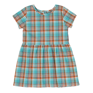 Girls'  Turquoise Plaid Button Back Dress